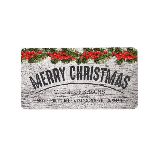 Joie en bois rustique de Noël Étiquette D'adresse