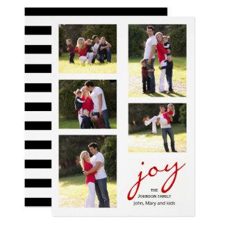 Joie rouge moderne, Noël de collage de photo de Carton D'invitation 12,7 Cm X 17,78 Cm