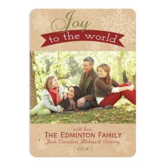 Joie rustique à la carte plate de Noël du monde Carton D'invitation 12,7 Cm X 17,78 Cm