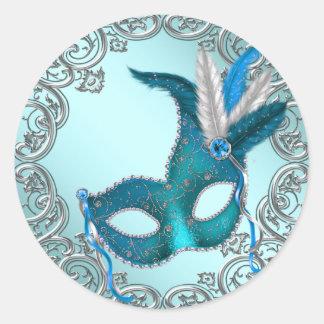 Joint argenté bleu turquoise Fav d'enveloppe de Adhésif Rond