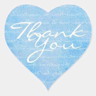 Joint bleu et blanc d'enveloppe de Merci de coeur Sticker Cœur