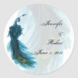 Joint bleu turquoise d'enveloppe de plume de paon sticker rond