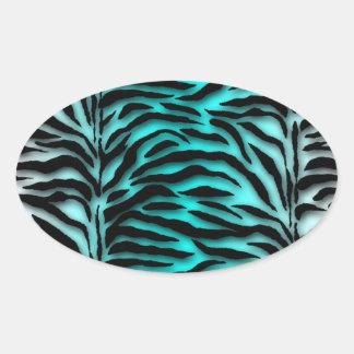Joint bleu turquoise d'enveloppe de zèbre sticker ovale