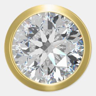 Joint brillant d'enveloppe de diamant d'or sticker rond