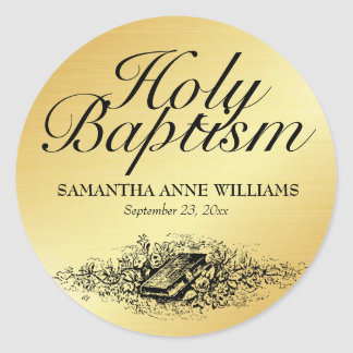 Joint d'autocollant de baptême d'or avec la bible, sticker rond