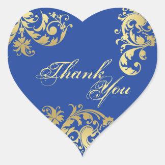 Joint de Merci - bleu royal et mariage floral d'or Sticker Cœur