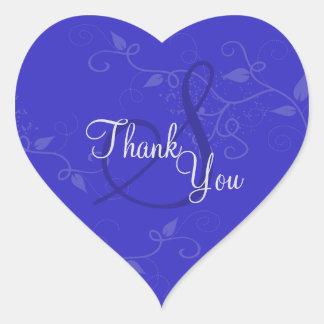 Joint de Merci - mariage de monogramme de bleu Sticker Cœur