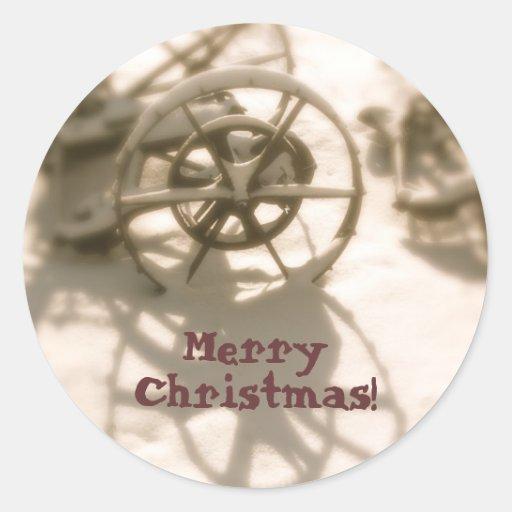 Joint d'enveloppe de carte de Noël de tracteur :  Adhésifs Ronds