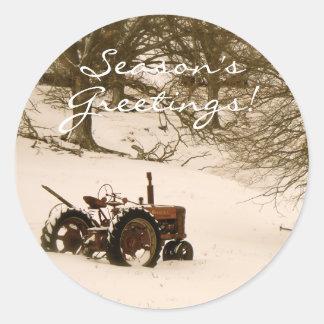 Joint d'enveloppe de carte de Noël de tracteur Sticker Rond