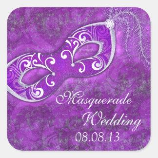 Joint d'enveloppe de mariage de mardi gras de sticker carré