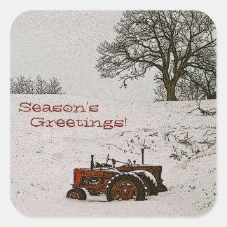Joint d'enveloppe de Noël de tracteur Sticker Carré