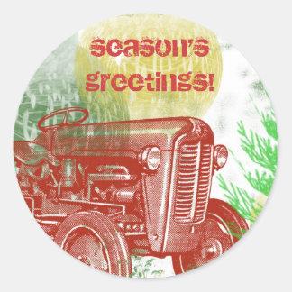 Joint d'enveloppe de Noël de tracteur : Rétro Sticker Rond