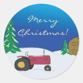 Joint d'enveloppe de Noël de tracteur : Tracteur Sticker Rond