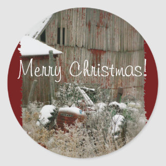 Joint d'enveloppe de tracteur et de Noël de grange Sticker Rond