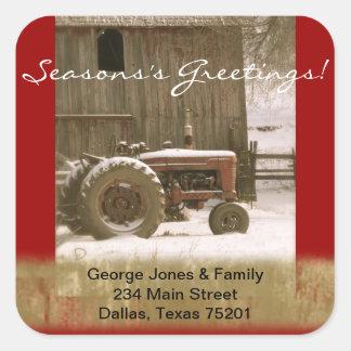 Joint d'enveloppe de tracteur et de Noël de grange Autocollants Carrés