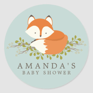 Joint doux de faveur de baby shower de Fox de Sticker Rond