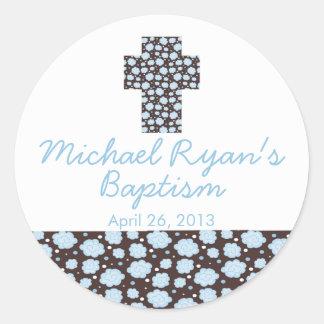 Joint floral bleu croisé moderne de faveur de sticker rond