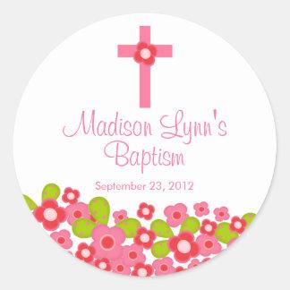 Joint floral rose croisé doux de faveur de baptême adhésifs ronds