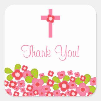 Joint floral rose croisé doux de faveur de baptême stickers carrés