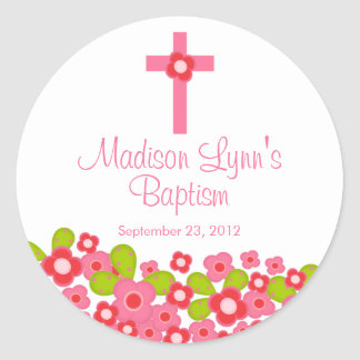Joint floral rose croisé doux de faveur de baptême sticker rond