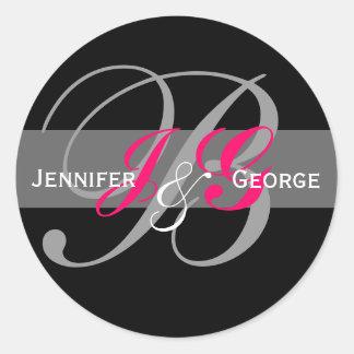 Joint fuchsia noir blanc de mariage de monogramme