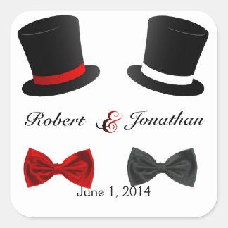 Joint gai d'enveloppe de mariage de chapeaux sticker carré