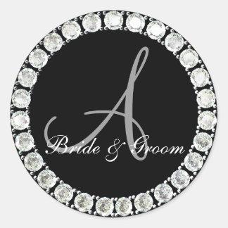Joint personnalisable du monogramme A de diamant Adhésif Rond