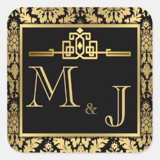 Joint Romance d'or d'enveloppe d'art déco Sticker Carré