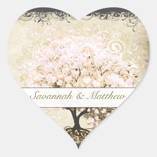 Joint rose de mariage d'arbre de feuille de coeur  autocollant en cœur