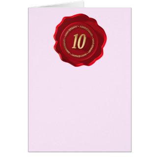joint rouge de cire de 10ème anniversaire carte de vœux