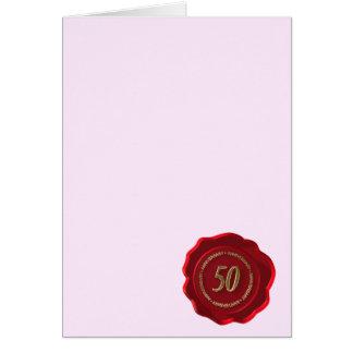 joint rouge de cire de cinquantième anniversaire carte de vœux