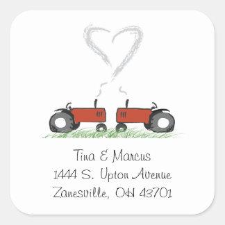 Joint rouge d'enveloppe de mariage de tracteur sticker carré