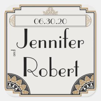 Joint snob d'enveloppe de mariage d'or d'art déco sticker carré