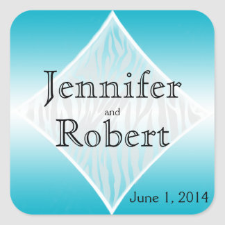 Joint turquoise et blanc d enveloppe de diamant de autocollant carré