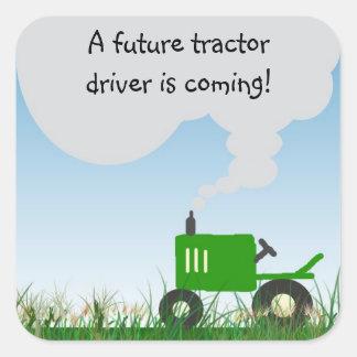 Joint vert d'enveloppe de baby shower de tracteur sticker carré