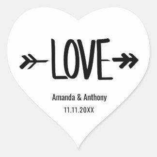Joints blancs modernes de mariage de flèche sticker cœur