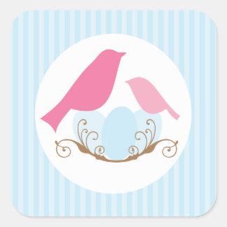 Joints d'enveloppe de baby shower de nid d'oiseaux sticker carré