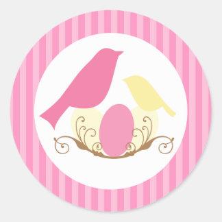 Joints d'enveloppe de baby shower de nid d'oiseaux sticker rond
