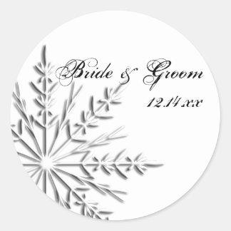 Joints d'enveloppe de mariage d'hiver de flocon de autocollants ronds