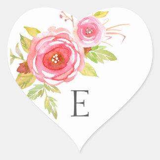 Joints d'enveloppe de monogramme de mariage, 3605 sticker cœur