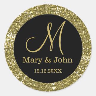 Joints noirs et de scintillement d'or de mariage sticker rond