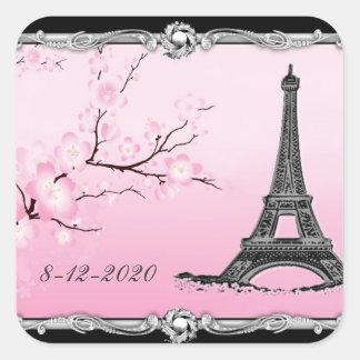 Joints parisiens de faire-part de mariage de Tour Sticker Carré