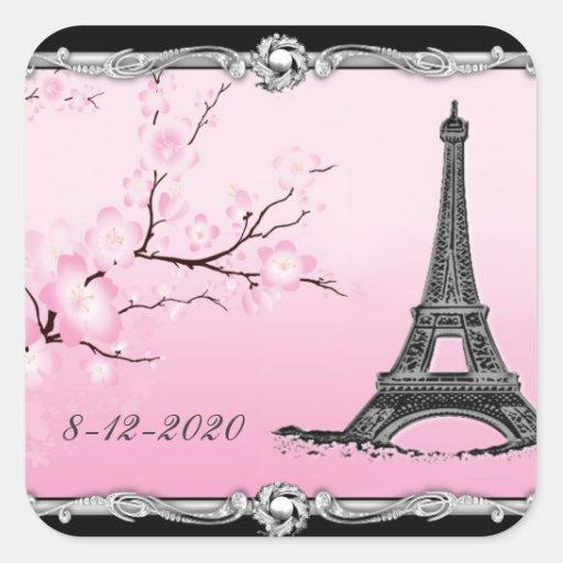 Joints parisiens de faire-part de mariage de Tour  Autocollants