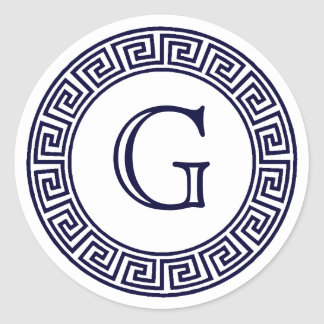 Joints principaux grecs d'enveloppe de monogramme sticker rond