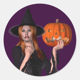 Joli autocollant de Halloween de sorcière de KRW