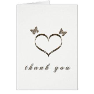 Joli carte de remerciements de blanc de papillons