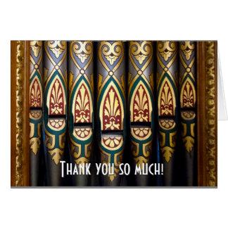Joli carte de remerciements de tuyaux d'organe