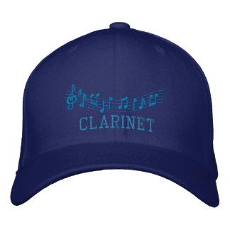 Joli casquette brodé de clarinette dans le bleu