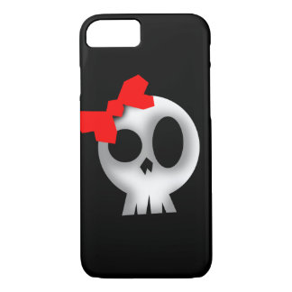 Joli crâne avec l'arc rouge coque iPhone 7