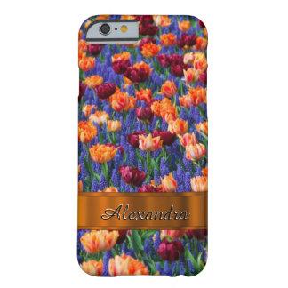 Joli gisement de fleur personnalisé de tulipe coque iPhone 6 barely there